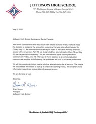 Letter from JHS: graduation 2020