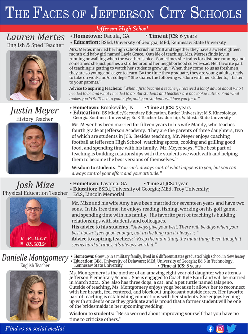 The Faces of Jefferson City Schools:  Week 11
