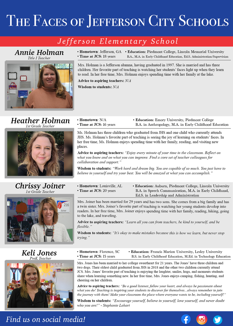 The Faces of Jefferson City Schools: JES Week 9